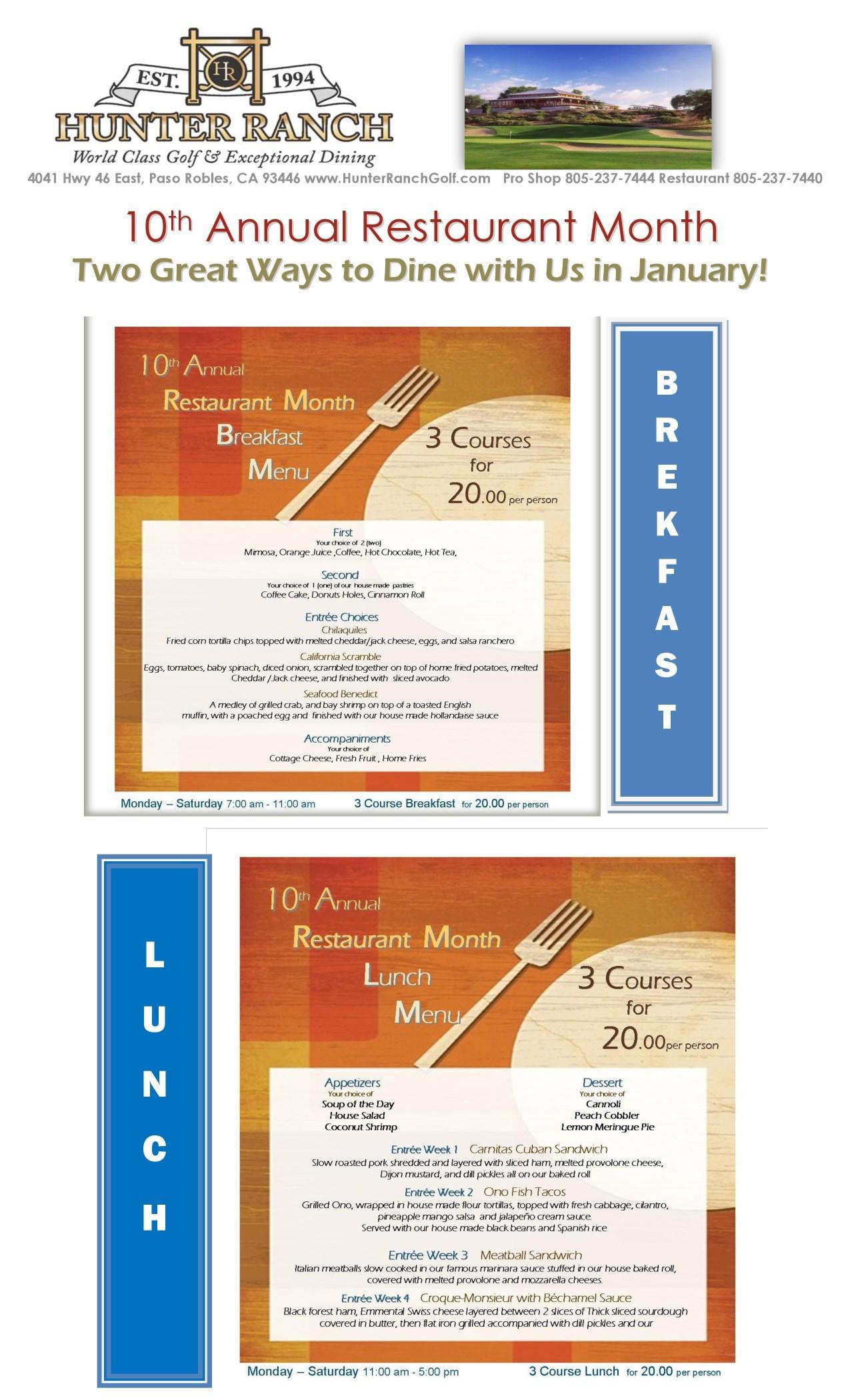 San Luis Obispo Restaurant Month