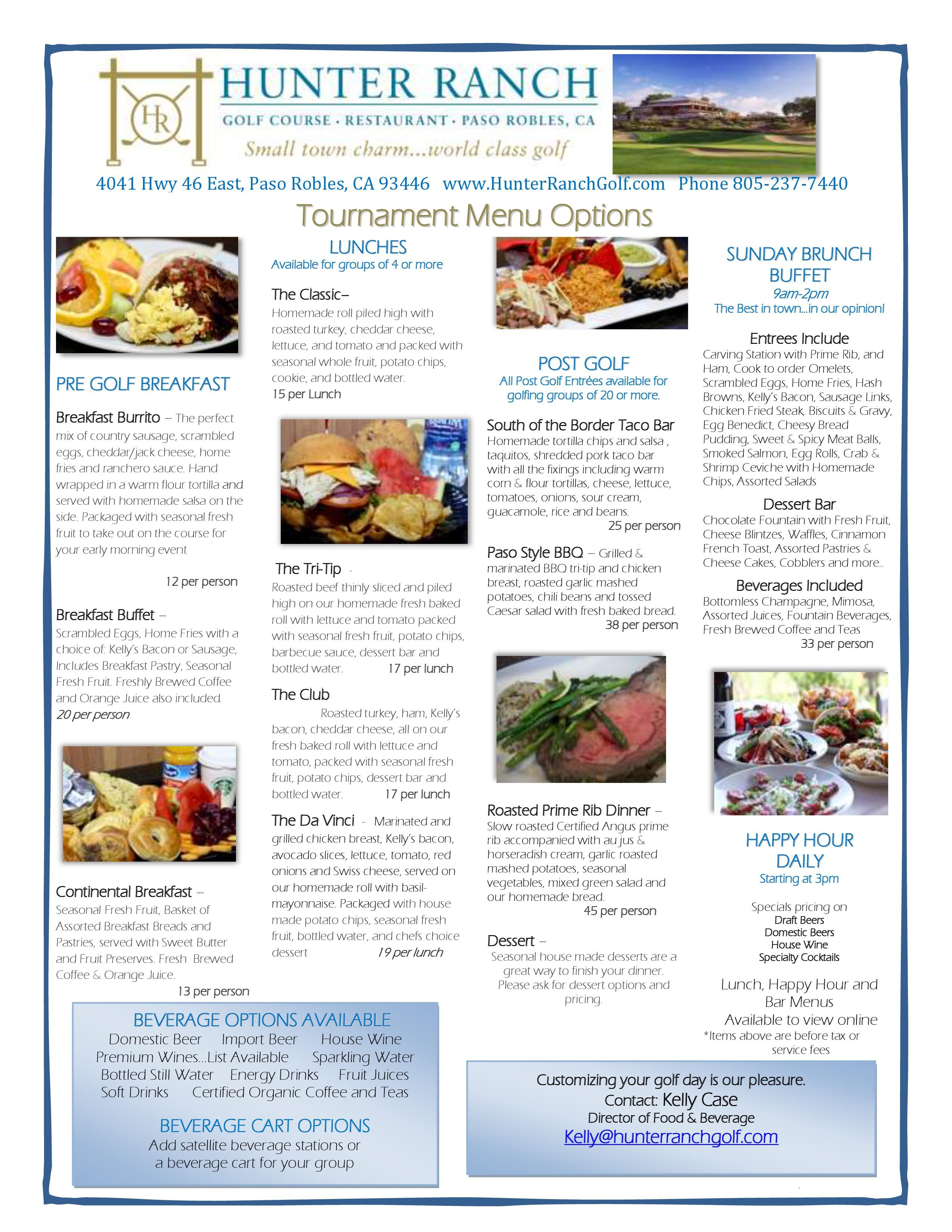 16 05 25 Hunter Ranch Golf Course Tournament Menu page 0