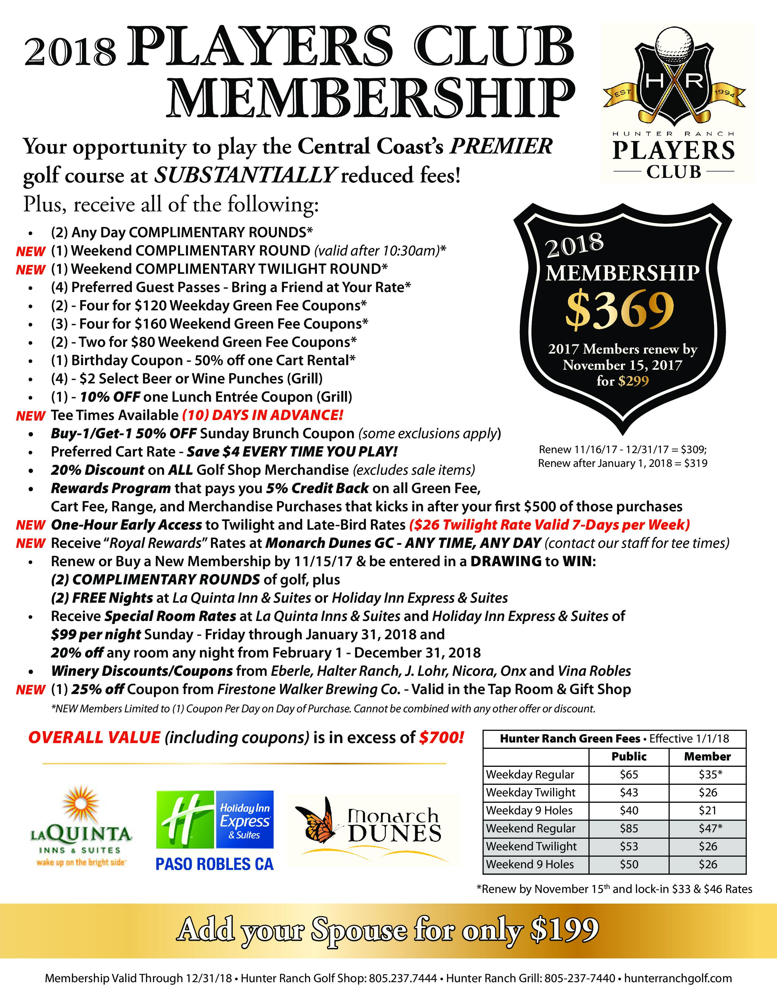 17 09 30 Players Club 2018 Flyer page 0
