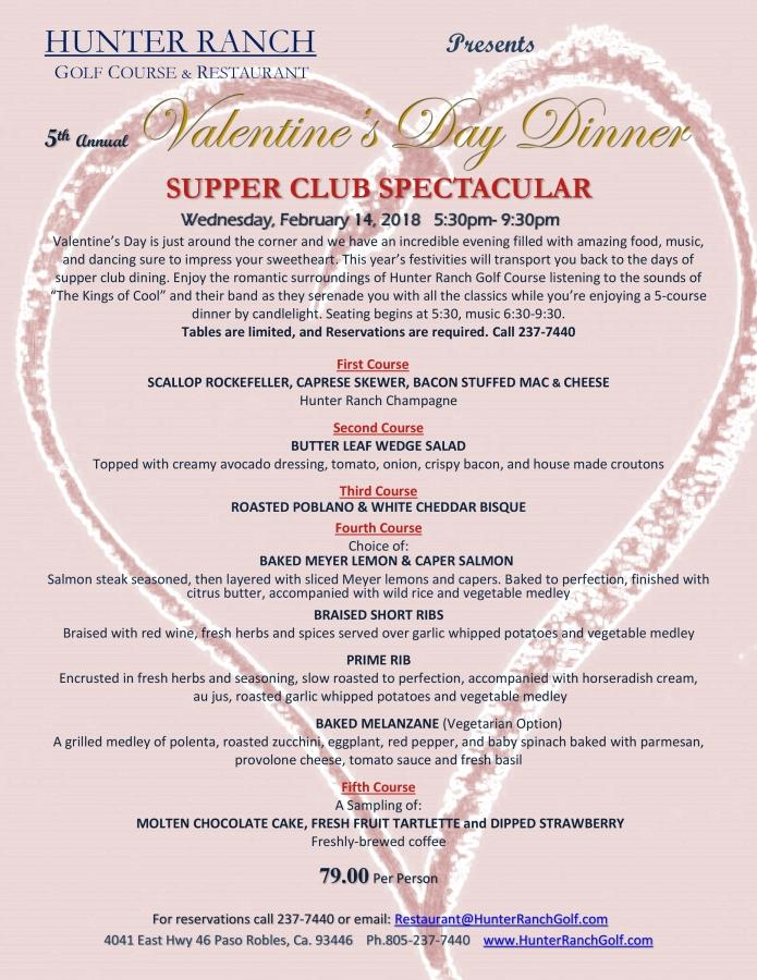 18 01 09 Hunter Ranch Golf Course 5th Annual Valentines Dinner 2018 Supper Club Spectacular Menu page 0